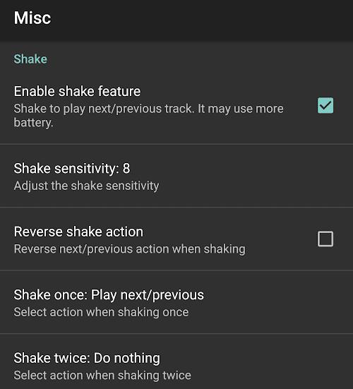 Shake Feature in jetAudio