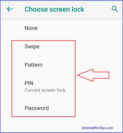 Choose Screen Lock