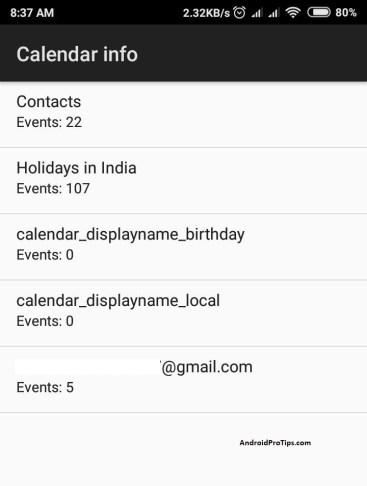 *#*#225#*#* – Calendar Info