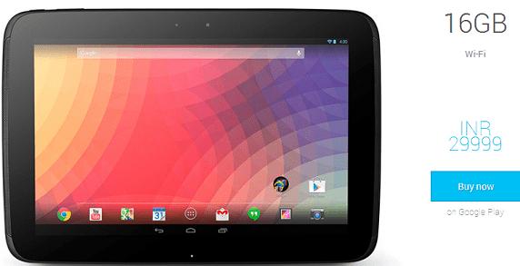 Nexus 10 India Price