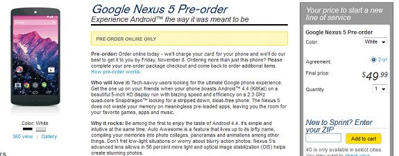 Nexus 5 sprint preorder