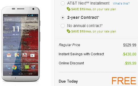 Moto X free on AT&T
