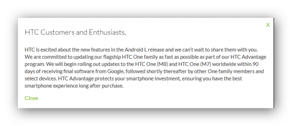 HTC Android L 90 days