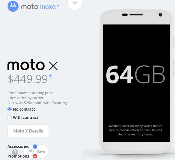 Moto X 64GB 449$