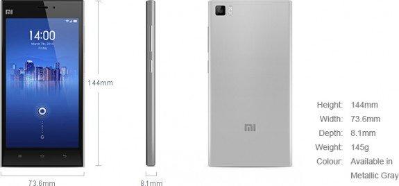 Xiaomi Mi 3 Dimensions