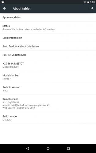 Nexus 7 2012 WiFi Android 5.0.2 LRX22G