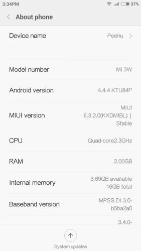 Xiaomi Mi 3 MIUI 6