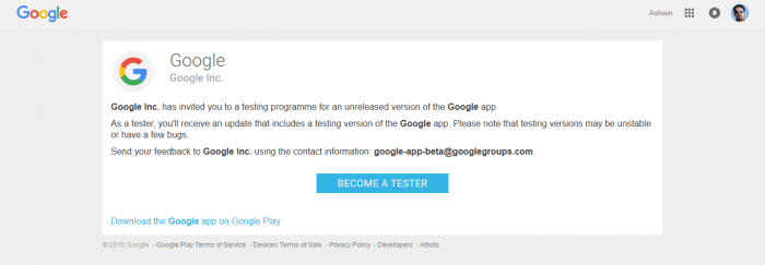 Google Search Beta Test App