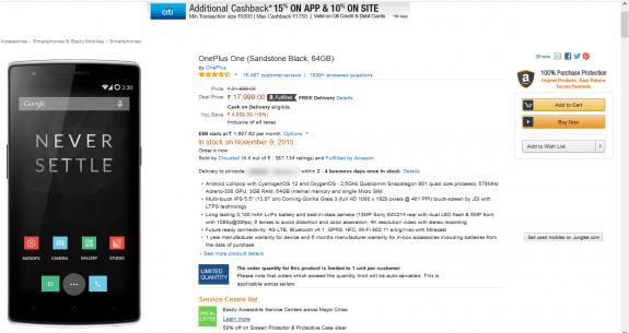 OnePlus One 64GB Amazon India Sale