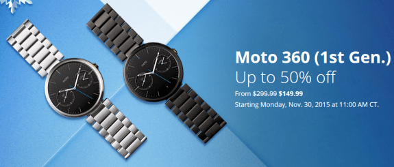 Moto 360 1st Gen discount sale Black Friday 2015