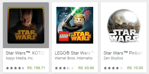 May the fourth be with you game sale - Star Wars: KOTOR, LEGO Star Wars: TCS and Star Wars Pinball 4 are on sale at Google Play