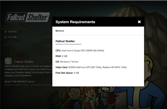 Fallout Shelter PC System Requirements