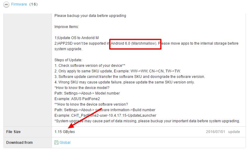 ZenFone Zoom ZX551ML Marshmallow ota update
