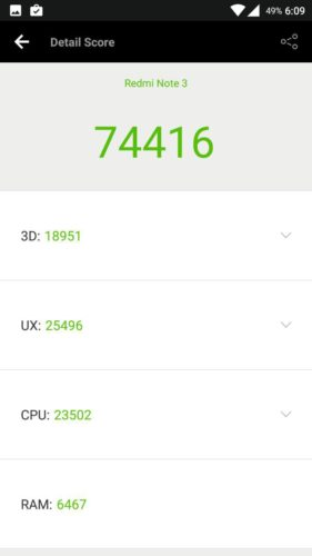 Redmi Note 3 CM 13 Antutu benchmark