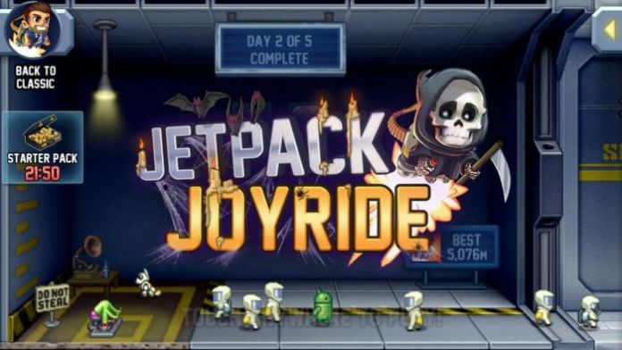 Jetpack Joyride Halloween Update 2 - Jetpack Joyride Halloween update brings Bone Dragon, Grim Reaper costume, Jack-o'-lantern jetpack and more