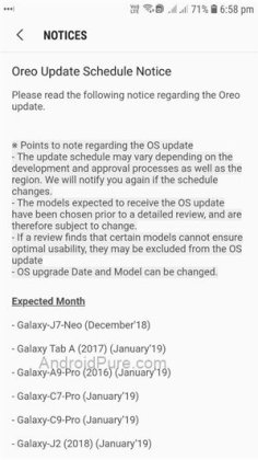 Samsung Android Oreo update roadmap
