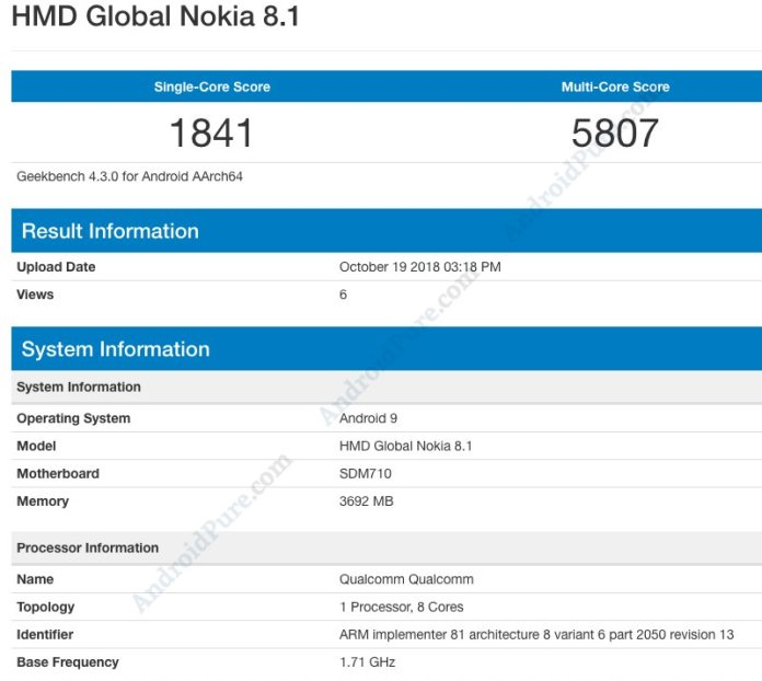 Nokia 8.1 Geekbench Nokia 8.1 with Snapdragon 710, 4GB RAM spotted on Geekbench 1