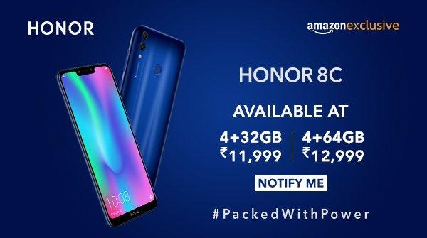 Honor 8C India Launch Price