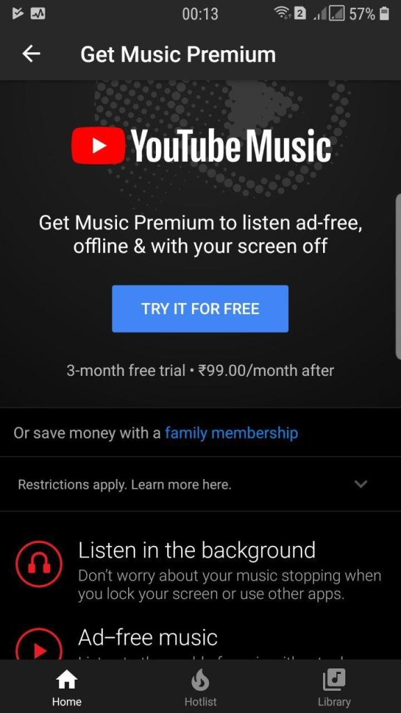 YouTube Music in India price