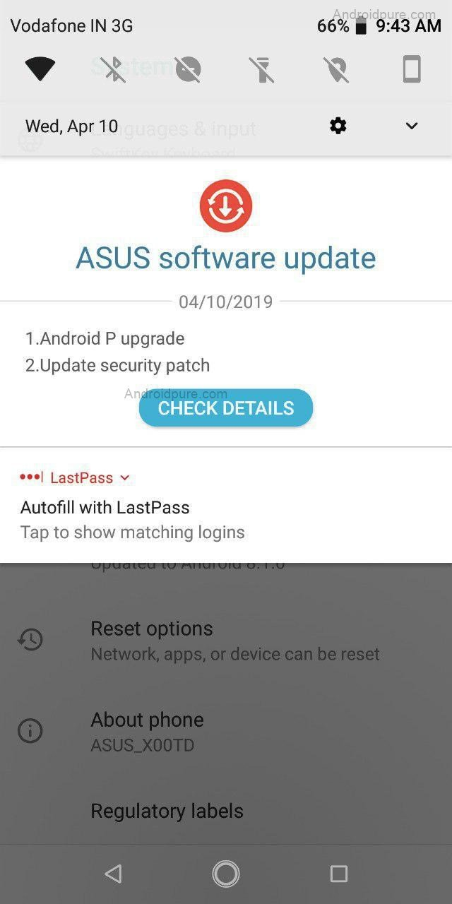 Android Pie Update For ASUS Zenfone Max Pro M1