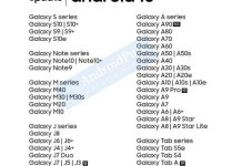 Samsung Galaxy Android 10 Update list