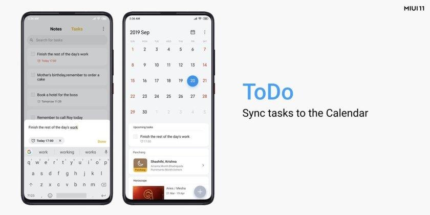 MIUI 11 Tasks calendar sync