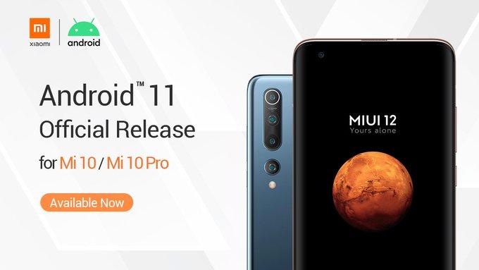 Android 11 Xiaomi Mi 10 and Mi 10 Pro
