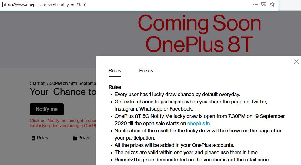 OnePlus 8T 5G India launch contest