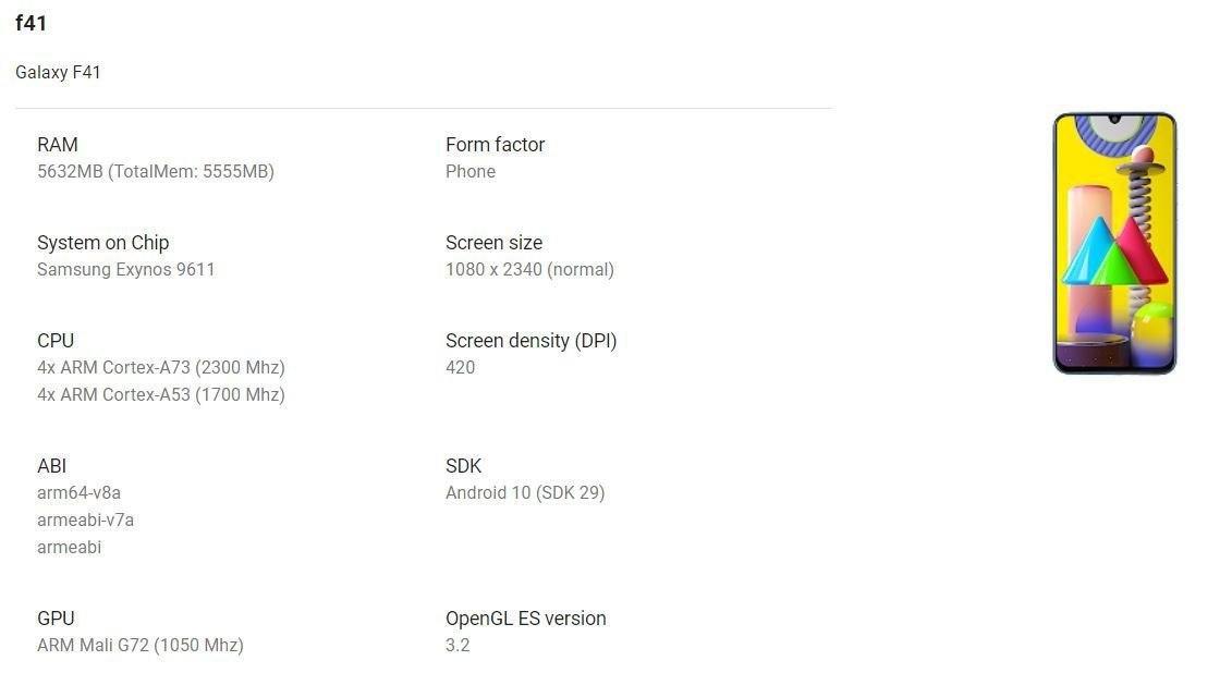 Samsung Galaxy F41 specs and design