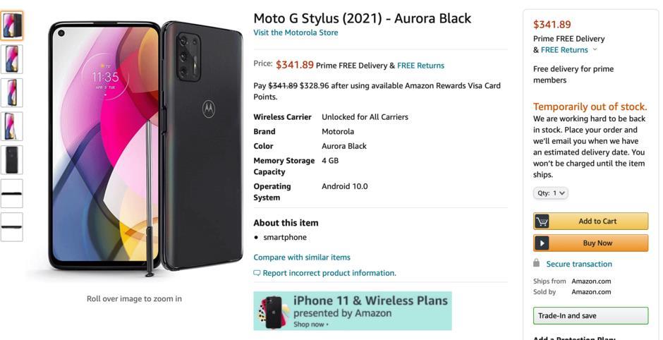 Moto G Stylus 2021 Aurora Black