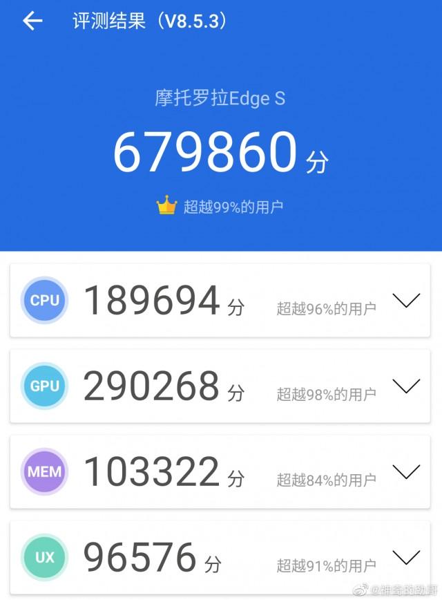 Moto Edge S Antutu benchmark score