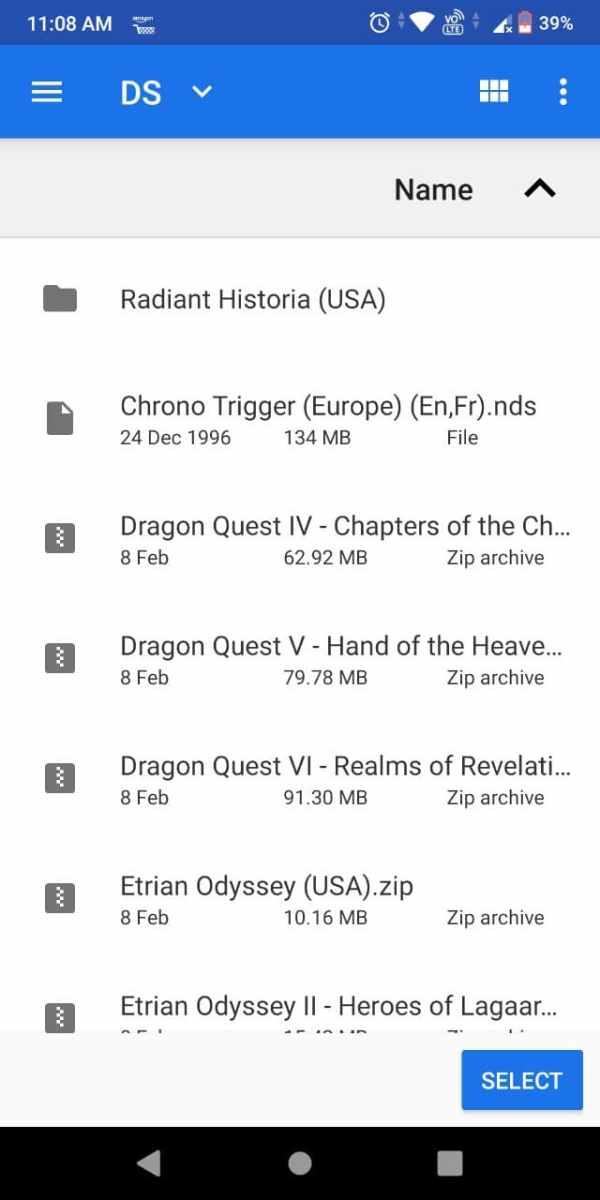 MelonDS Android emulator select game folder