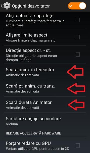 46eirfgd Optiuni Dezvoltator, Optimizeaza Sistemul Android