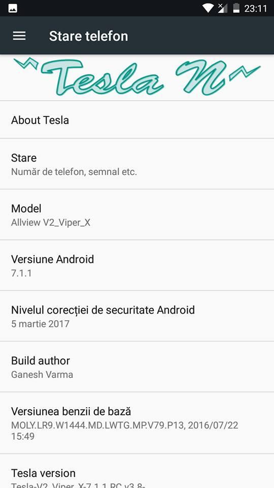 ROM Nougat Tesla OS 7.1.1 pentru Allview V2 Viper X si Gionee SPlus