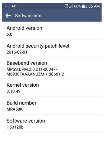 T-mobile LG G stylo H63120b android 6.0 marshmallow