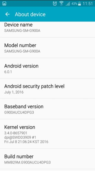 Download AT&T Galaxy S5 to Android 6.0.1 Marshmallow G900AUCU4DPG3