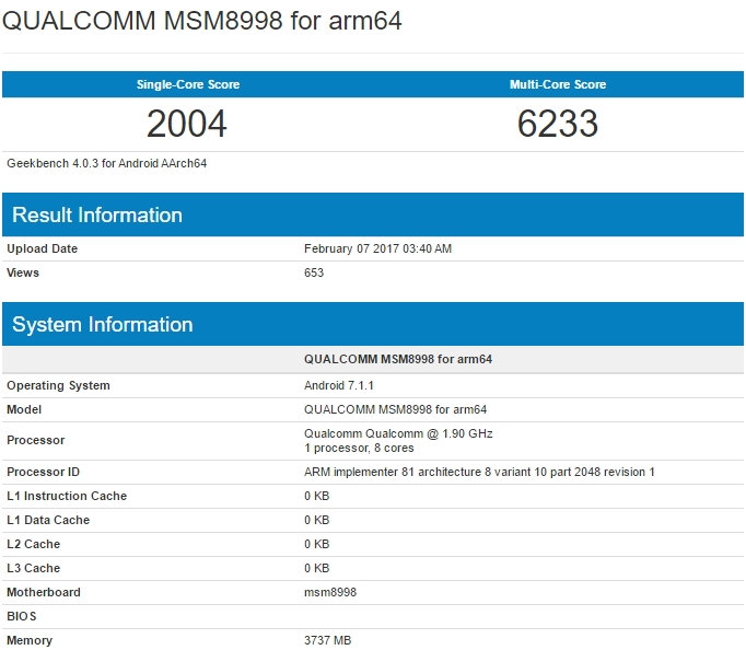 QUALCOMM MSM8998 for arm64 Geekbench snapdragon 835 on 7.1.1 Nougat
