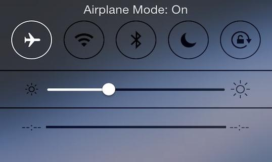 turn on airplane mode
