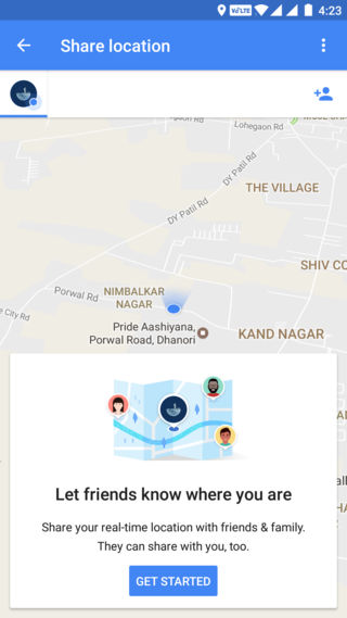 Google Maps Share location option enabled