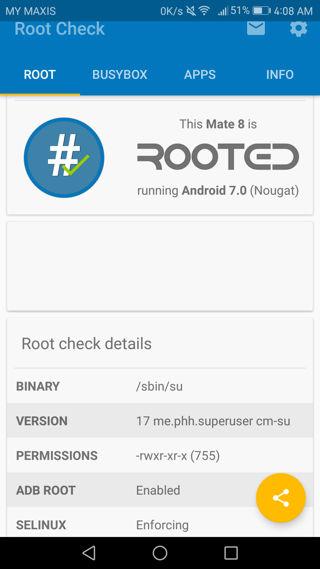 Root Huawei Mate 8 via phh superuser check