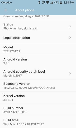 ZTE Axon 7 nougat 7.1.1 build number
