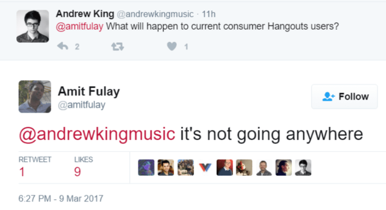 amit fulay tweets about hangouts chat
