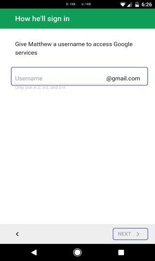 set username for kids account