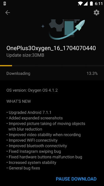 Oxygen OS 4.1.2 OTA update for OnePlus 3 - download via Canada VPN