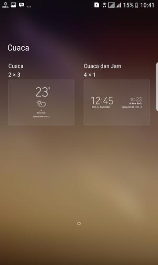 galaxy S8 stock Weather widget size