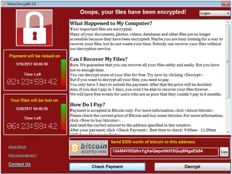WannaCry Ransomnote