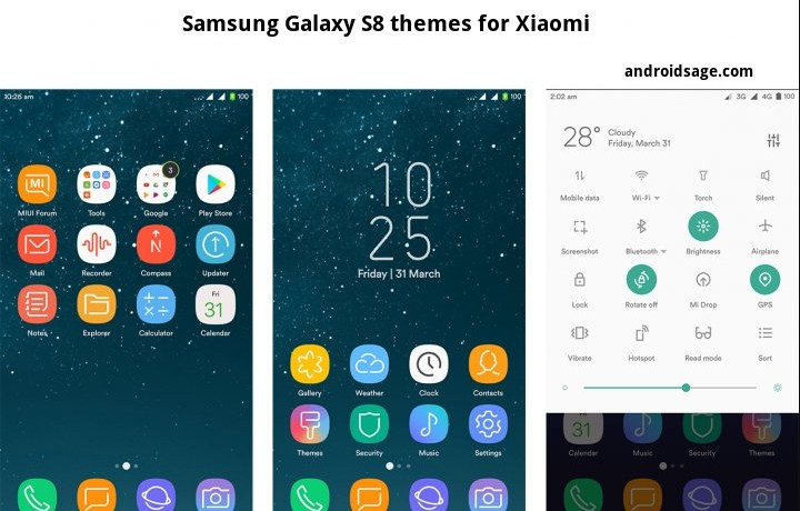 Download 3 awesome Samsung Galaxy S8 (Plus) themes for Xiaomi on stock MIUI firmware