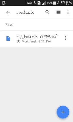 how to upload contacts to google drive from android
