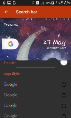 search bar color and logo customising