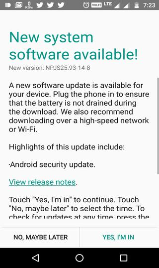 Moto G4 Plus June security patch